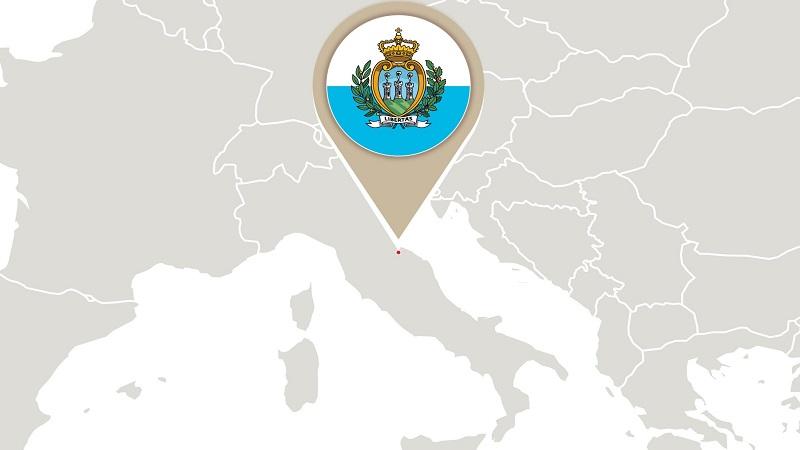 Сан-Марино на карте Европы