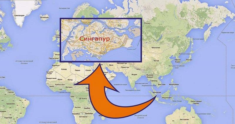 где находится Сингапур на карте мира